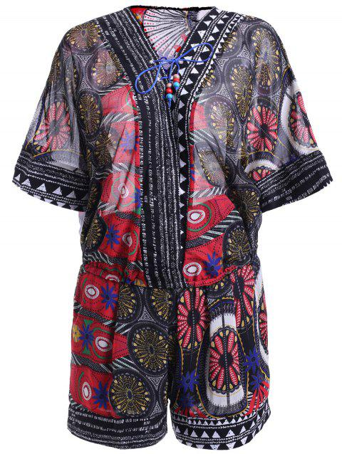 Ethnic Style Women's Print Lace-Up Batwing Sleeves Blouse and Print Shorts Set - RED ONE SIZE(FIT SIZE XS TO M)
