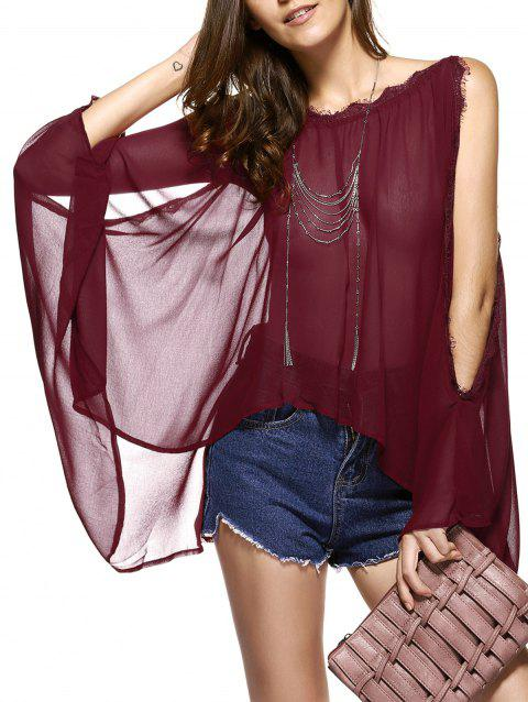 Batwing Sleeves Laciness See-Through Chiffon Blouse - WINE RED L