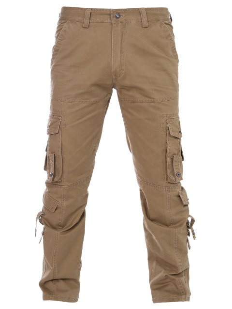Pantalons Poches Solid Color Zipper Fly Straight Leg Men  's - Kaki 29