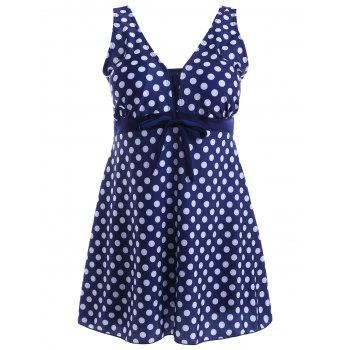 Stylish Women's V-Neck Bowknot Embellished Polka Dot One-Piece Swimsuit