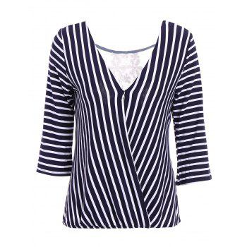Sexy V-Neck 3/4 Sleeve Hollow Out Striped Women's Blouse - BLUE BLUE