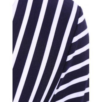 Sexy V-Neck 3/4 Sleeve Hollow Out Striped Women's Blouse - ONE SIZE(FIT SIZE XS TO M) ONE SIZE(FIT SIZE XS TO M)
