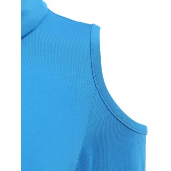 Alluring Cowl Neck Long Sleeve Slimming Hollow Out Women's Dress - BLUE S