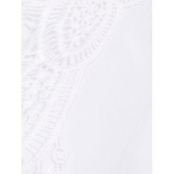 Contrast Crochet Chiffon Kaftan Cover Up - WHITE ONE SIZE(FIT SIZE XS TO M)