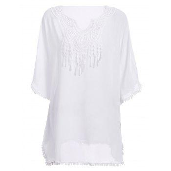 Chic Batwing Sleeve Notched Neck Macrame Spliced Women's Cover Up