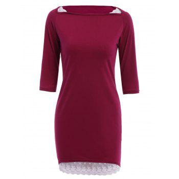 Chic Slash Collar 3/4 Sleeve Asymmetrical Lace Design Women's Dress