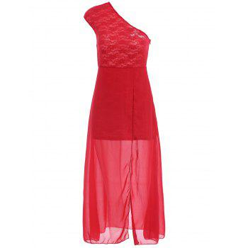 One-Shoulder Sleeveless Furcal Spliced Women's Dress