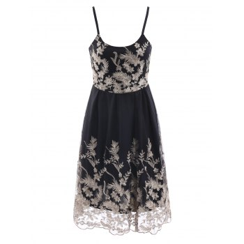 Vintage Embroidered Spaghetti Strap High Waist Midi Dress For Women
