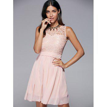Round Collar Lace Splicing Sleeveless Dress