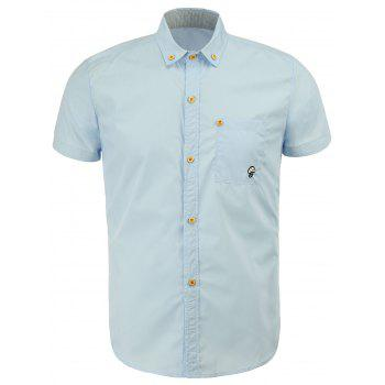 Casual Turn Down Collar Solid Color Button Design Men's Shirts