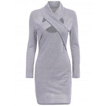 Stylish Stand-Up Collar Long Sleeve Cut Out Bodycon Women's Dress