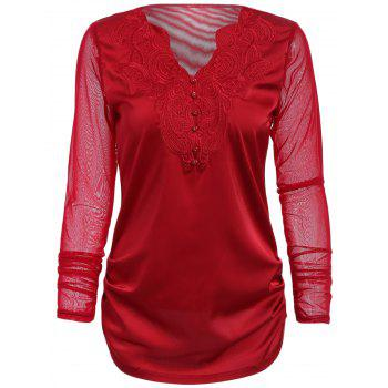 Stylish V-Neck Long Sleeve Voile Spliced Embroidered Women's Blouse
