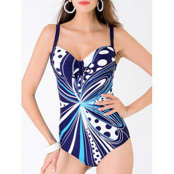 Stylish Women's Plus Size Spaghetti Strap Abstract Print One-Piece Swimwear