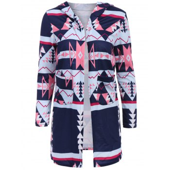 Chic Long Sleeve Hooded Geometric Pattern Women's Cardigan