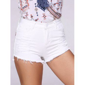 Buy Fashionable Ripped Solid Color Women's Denim Shorts WHITE