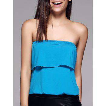 Stylish Strapless Overlay Solid Color Top For Women