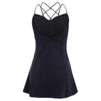 Stylish Women's Solid Color Spaghetti Strap Backless Mini Dress - BLACK M