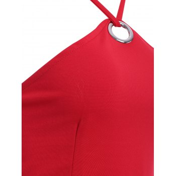 Stylish Women's Solid Color Spaghetti Strap Round Button Mini Dress - RED ONE SIZE(FIT SIZE XS TO M)