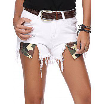 White Hole Design Mini Denim Shorts