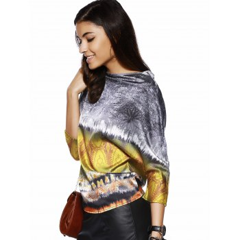 Retro Style Women's Boat Neck 3/4 Sleeve Printed Blouse - YELLOW M