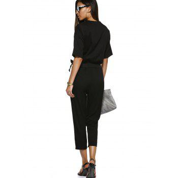 High-Waist Tie Belt One Button Lady's Jumpsuit - S S