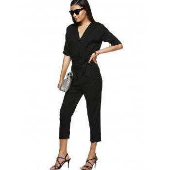 High-Waist Tie Belt One Button Lady's Jumpsuit - BLACK S