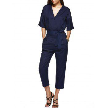 High-Waist Tie Belt One Button Lady's Jumpsuit