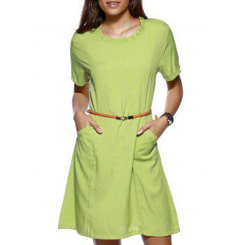 Stylish Women's Ruffled Collar Solid Color Linen Dress