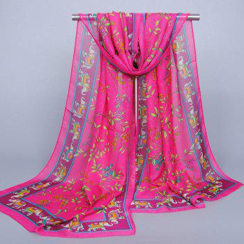Indian Style Elephant Flower Leaf Pattern Women's Chiffon Shawl Wrap Scarf