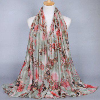 Chic Flower and Bronze Mirror Pattern Women's Voile Shawl Wrap Scarf
