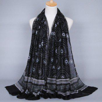 Buy Chic Ethnic Round Beach Throw Pattern Women's Voile Shawl Wrap Scarf BLACK
