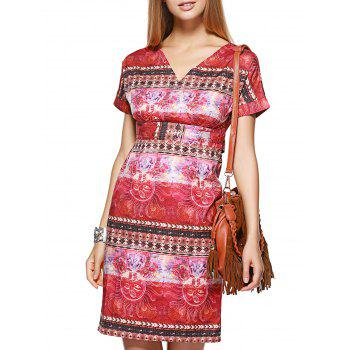 Trendy V-Neck Short Sleeve Ornate Printed Slimming Women's Dress