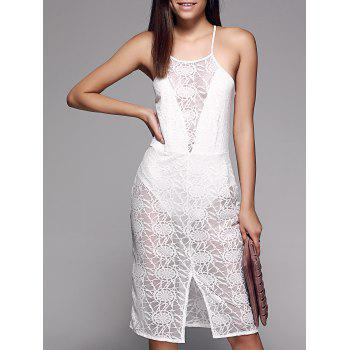 Buy Alluring See-Through Slit Front Lace Women's Cami Dress WHITE