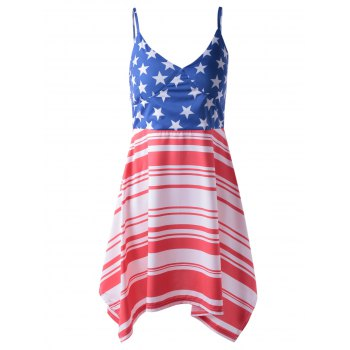 Fashionable Woman's Americana Flag Printing Spaghetti Strap Asymmetric Dress