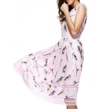 Sweet Birds Print Hollow Out Sleeveless Midi Dress For Women