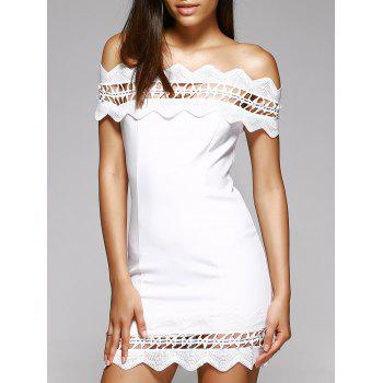Attractive Women's Off-The-Shoulder White Crochet-Trim Mini Dress