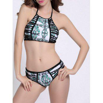 Print Strappy High Neck Halter Bikini Bathing Suit