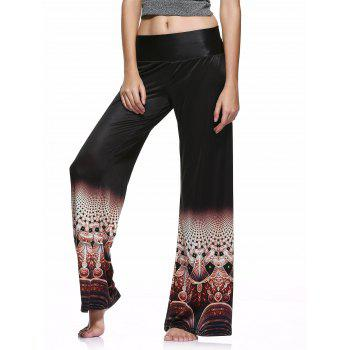 Elastic Waist Colorful Printed Loose-Fitting Palazzo Pants