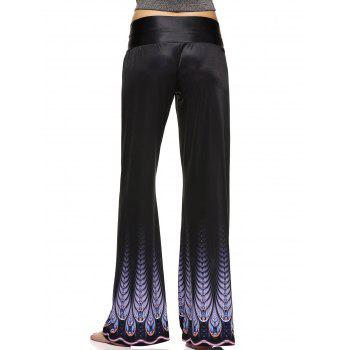 High Waist Printed Wide Leg Palazzo Pants - BLACK 2XL