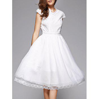 Trendy Lace Spliced V-Neck White Midi Dress For Women