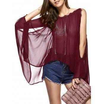 Buy Batwing Sleeves Laciness See-Through Chiffon Blouse WINE RED