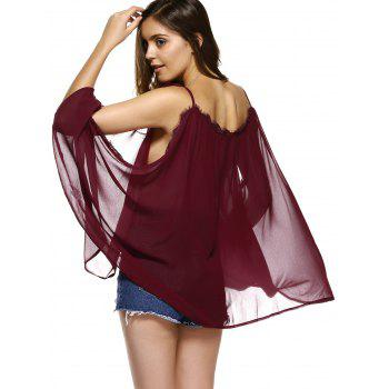 Batwing Sleeves Laciness See-Through Chiffon Blouse - WINE RED WINE RED
