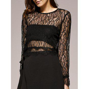 Bell Sleeves Lace Openwork Blouse