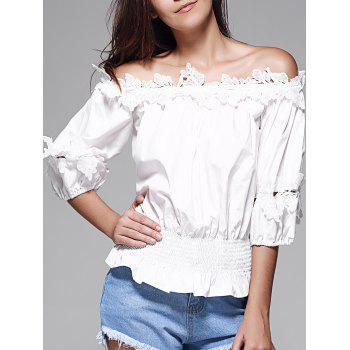 Off The Shoulder Guipure Frilled Blouse