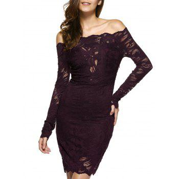 Off The Shoulder Lace Bodycon Mini Dress
