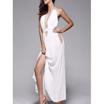 Plunge Halter Long Backless Swing Prom Dress