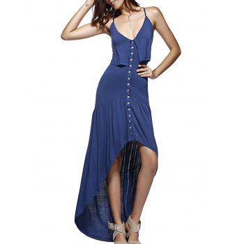 Single-Breasted Backless Cross High-Low Ruffled Dress