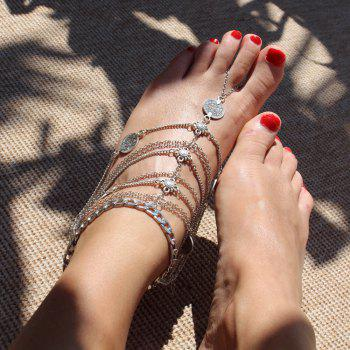 Novelty Coin Tassel Multideck Anklet For Women - SILVER