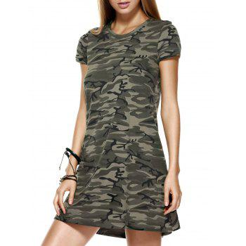Fashionable Round Collar Camo Printing Short Sleeves Dress For Women