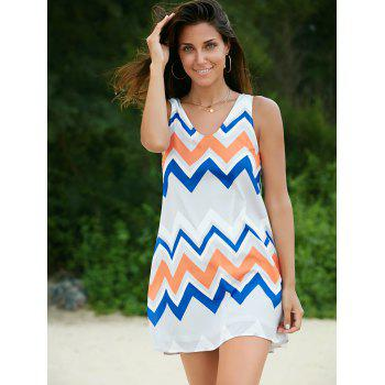 Trendy Sleeveless Scoop Neck Zig Zag Print Dress For Women